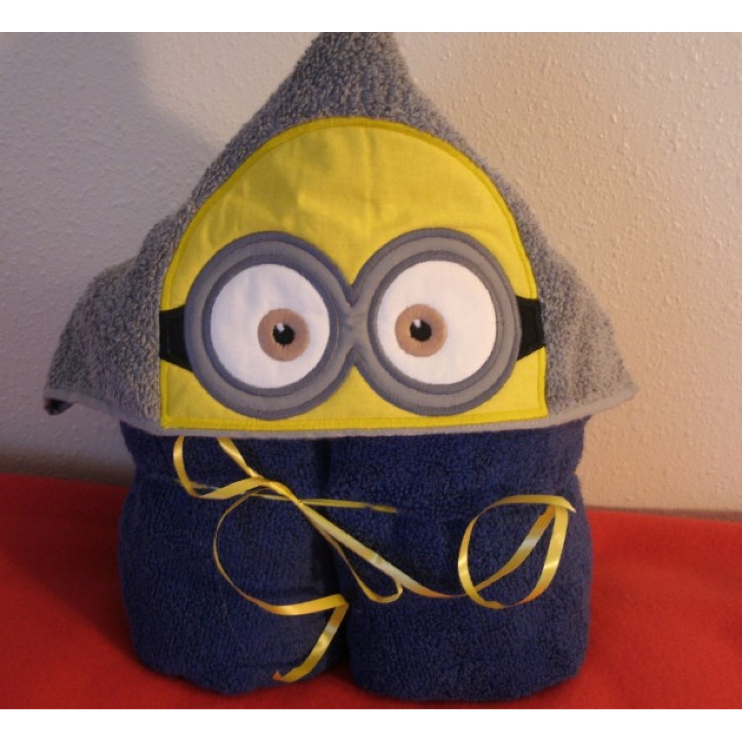 minion face applique Hooded Towel