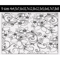 Floral Abstract pattern quilt 9 Sizes