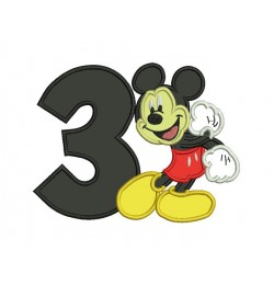 Mickey mouse birthday number 3 embroidery