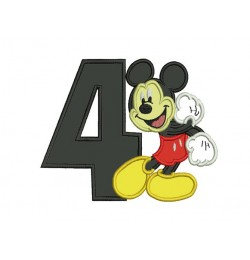 Mickey mouse birthday number 4 embroidery