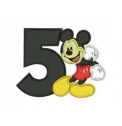Mickey mouse birthday number 5 embroidery