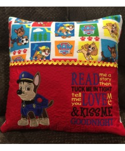 Chase Paw Patrol applique with read me a story