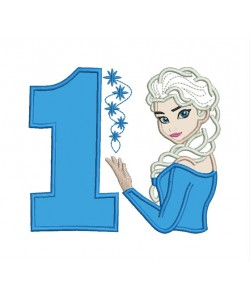 Elsa Frozen with number 1