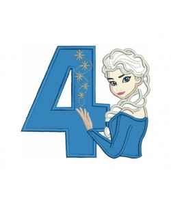 Elsa Frozen with number 4