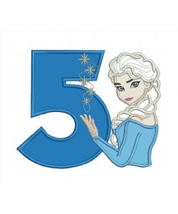 Elsa Frozen with number 5