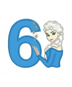 Elsa Frozen with number 6