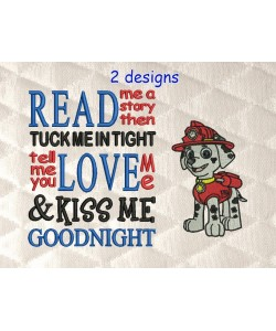 Marshal dog with read me a story designs embroidery