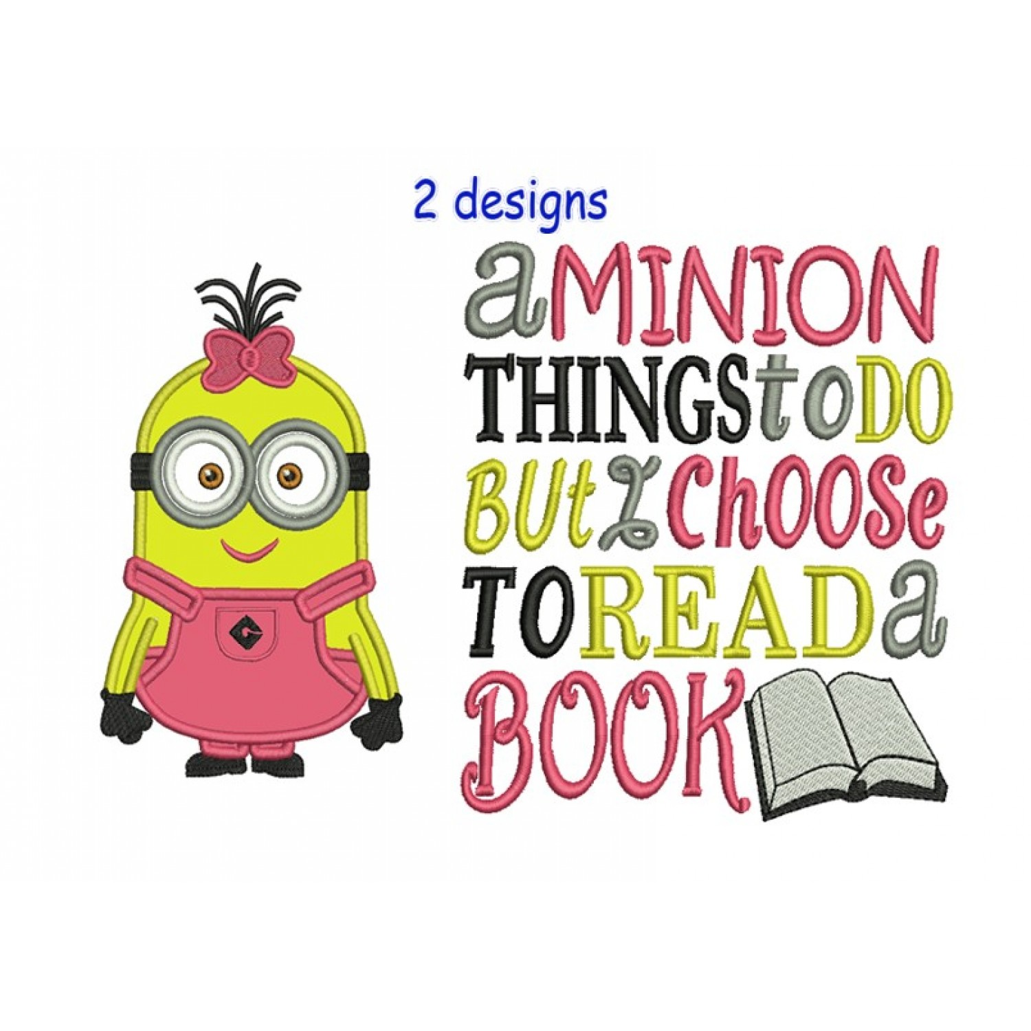 minion Lulu with a minion things 2 designs 3 sizes