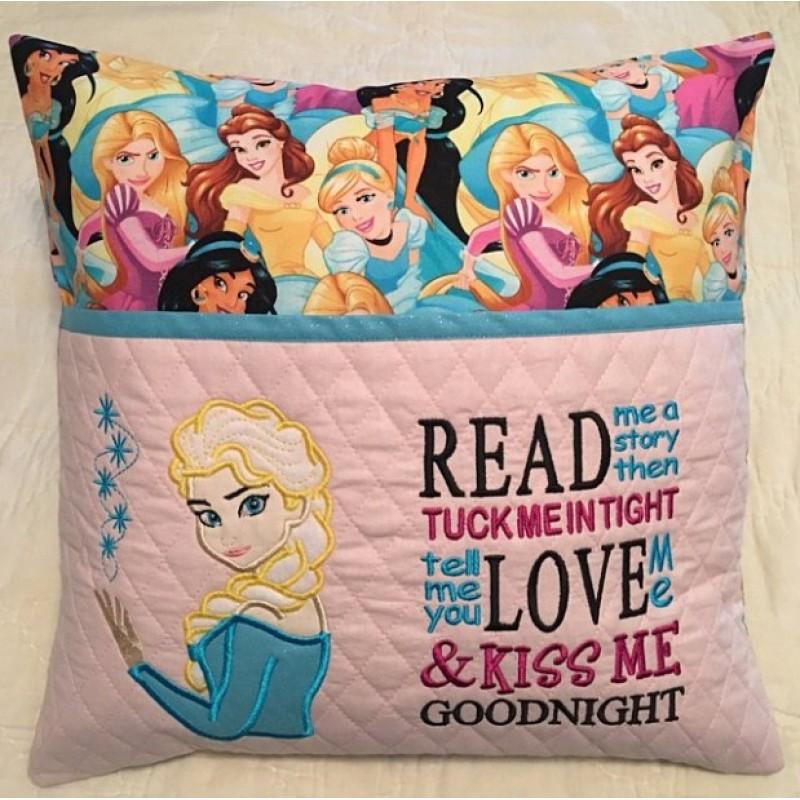 Elsa Frozen applique with read me a story 2 designs 3 sizes