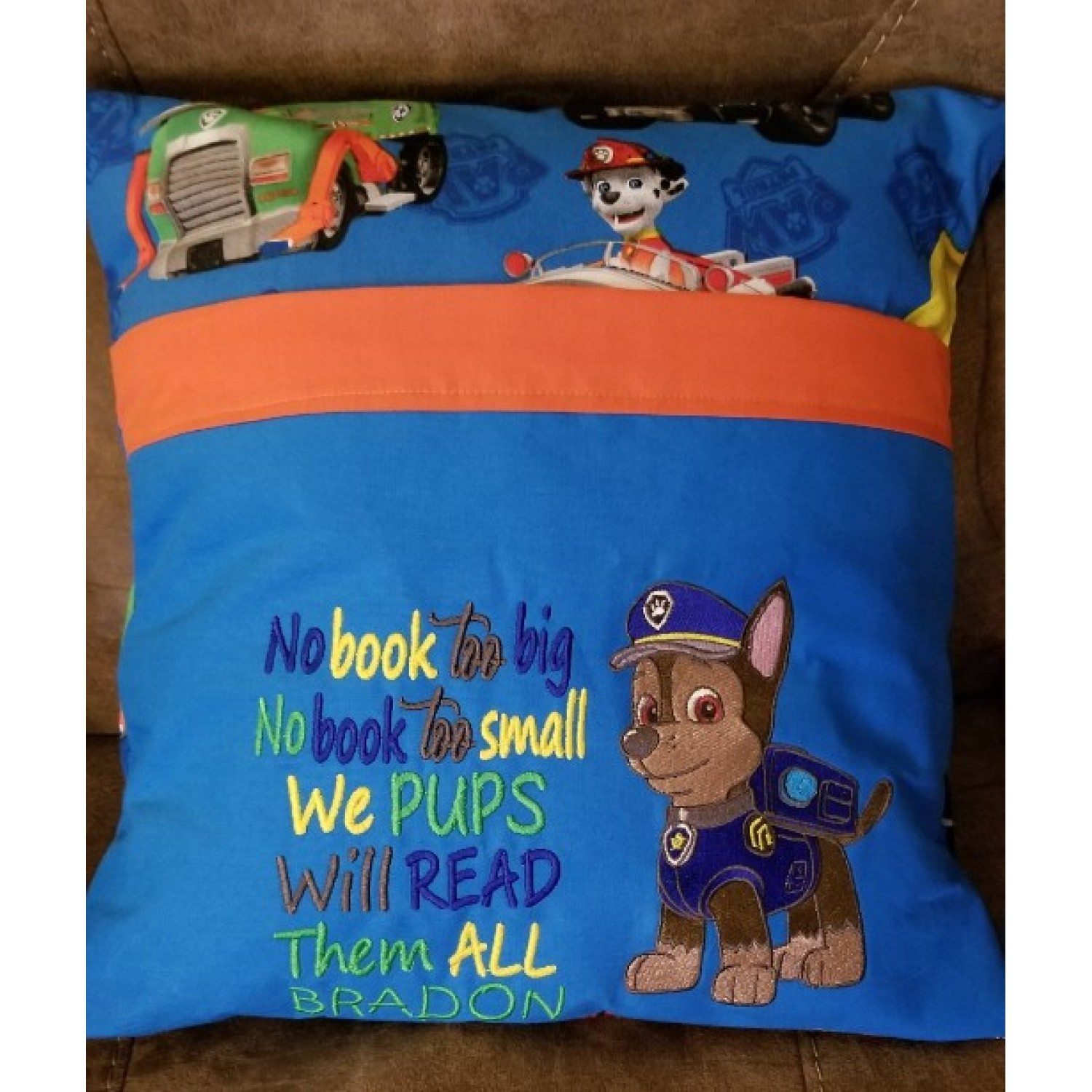 Paw Patrol Chase embroidery with no book too big 2 designs 3 sizes