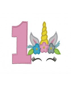 Unicorn Face birthday number 1 applique