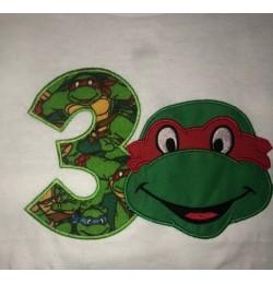 ninja turtle with number 3 birthday