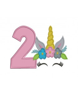 Unicorn Face birthday number 2 applique