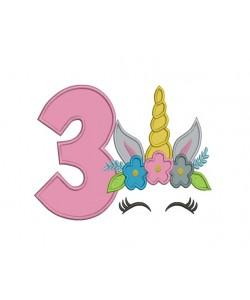 Unicorn Face birthday number 3 applique