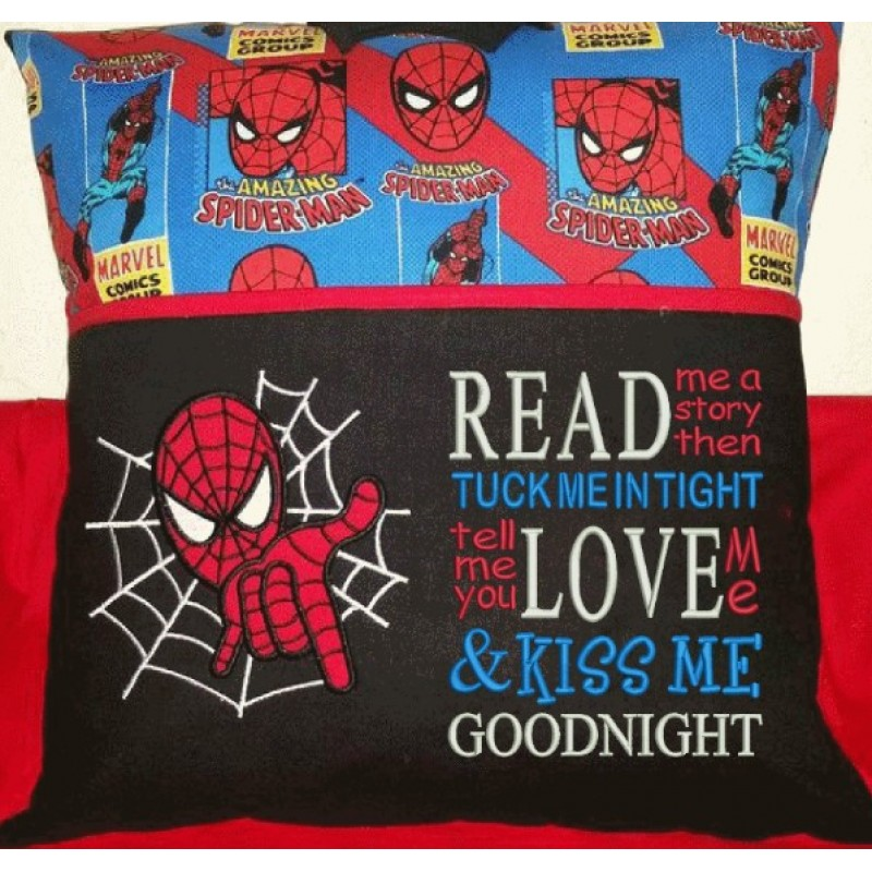 spiderman applique with read me a story 2 designs 3 sizes