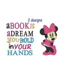 Minnie mouse with a book is a dream designs