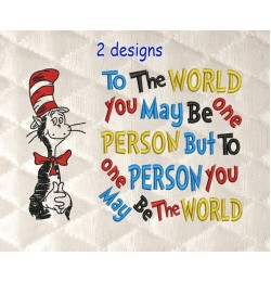 Dr. Seuss embroidery with to the world