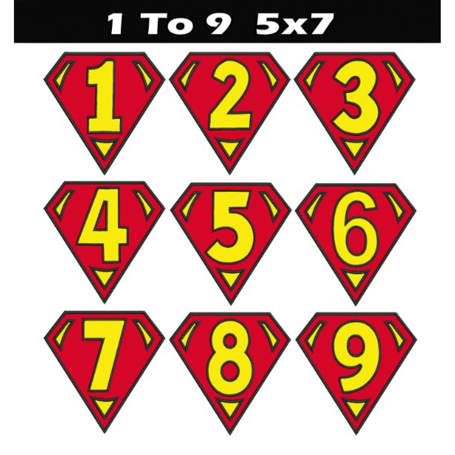 Superman logo numbers 5x7 applique