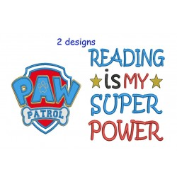logo paw patrol with reading is my super power