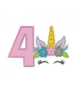 Unicorn Face birthday number 4 applique
