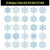 Snowflakes Redwork set of 25 designs 5 sizes
