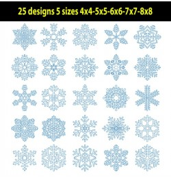 Snowflakes Redwork set of 25 designs 5 sizes