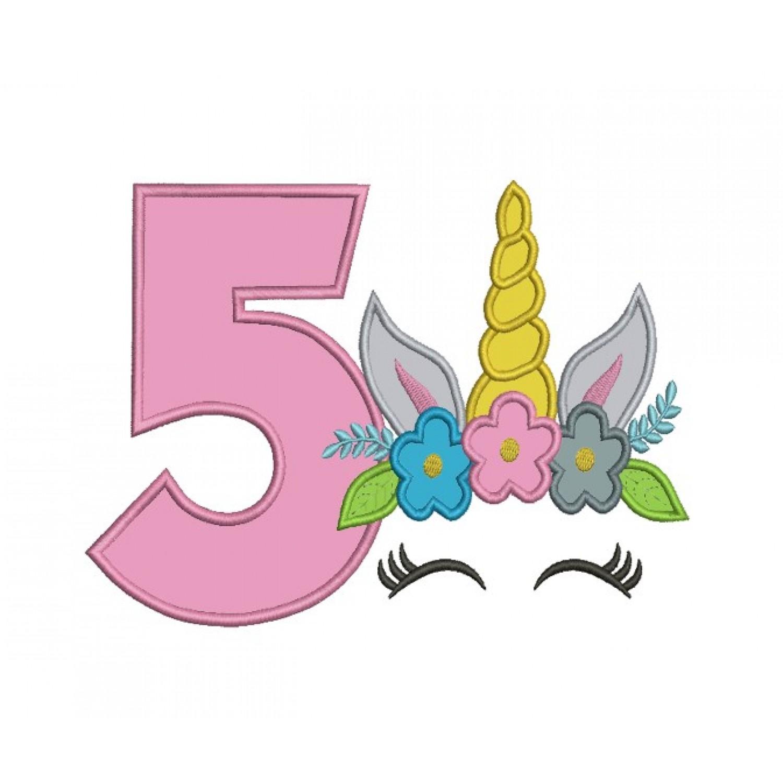 Unicorn Face birthday number 5 applique