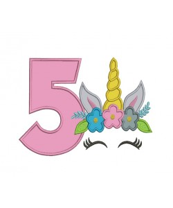 Unicorn Face birthday number 5 applique