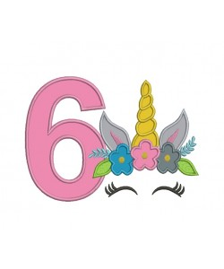 Unicorn Face birthday number 6 applique