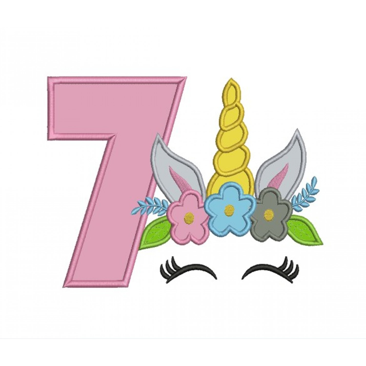 Unicorn Face birthday number 7 applique