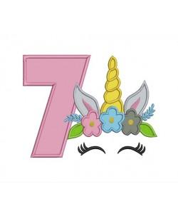 Unicorn Face birthday number 7 applique