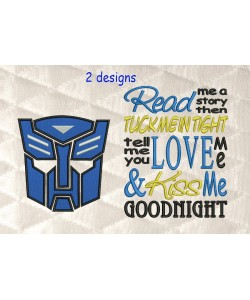 Autobots face with read me a story embroidery