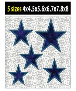 Stars stippling applique in the hoop