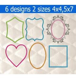 Frames applique 6 Designs Machine Embroidery