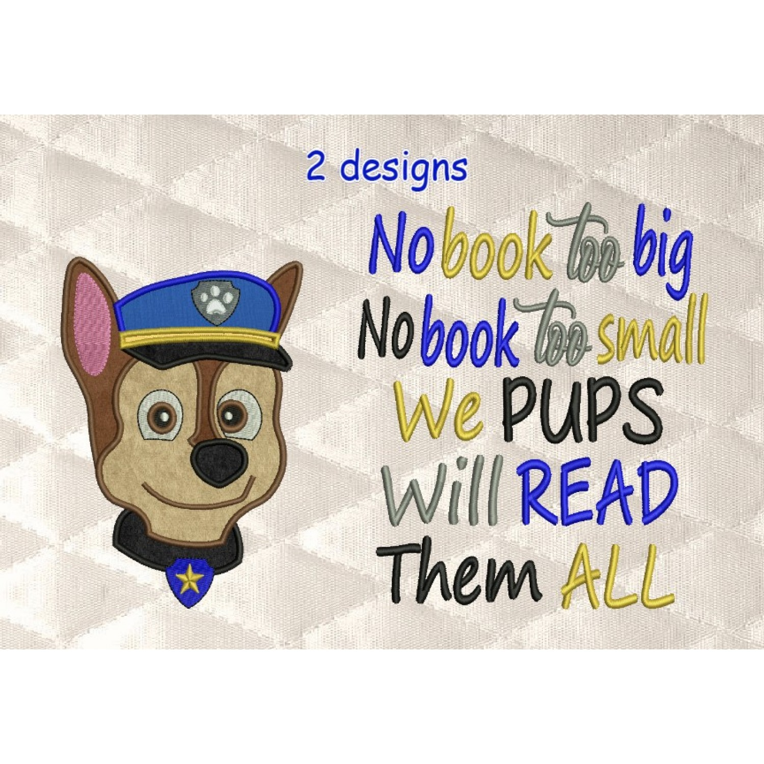 Paw Patrol Chase Face with no book too big