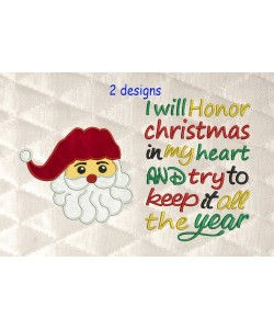 santa face applique with i will honor Christmas 2 designs 3 sizes