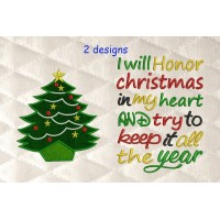 tree christmas applique with i will honor Christmas 2 designs 3 sizes
