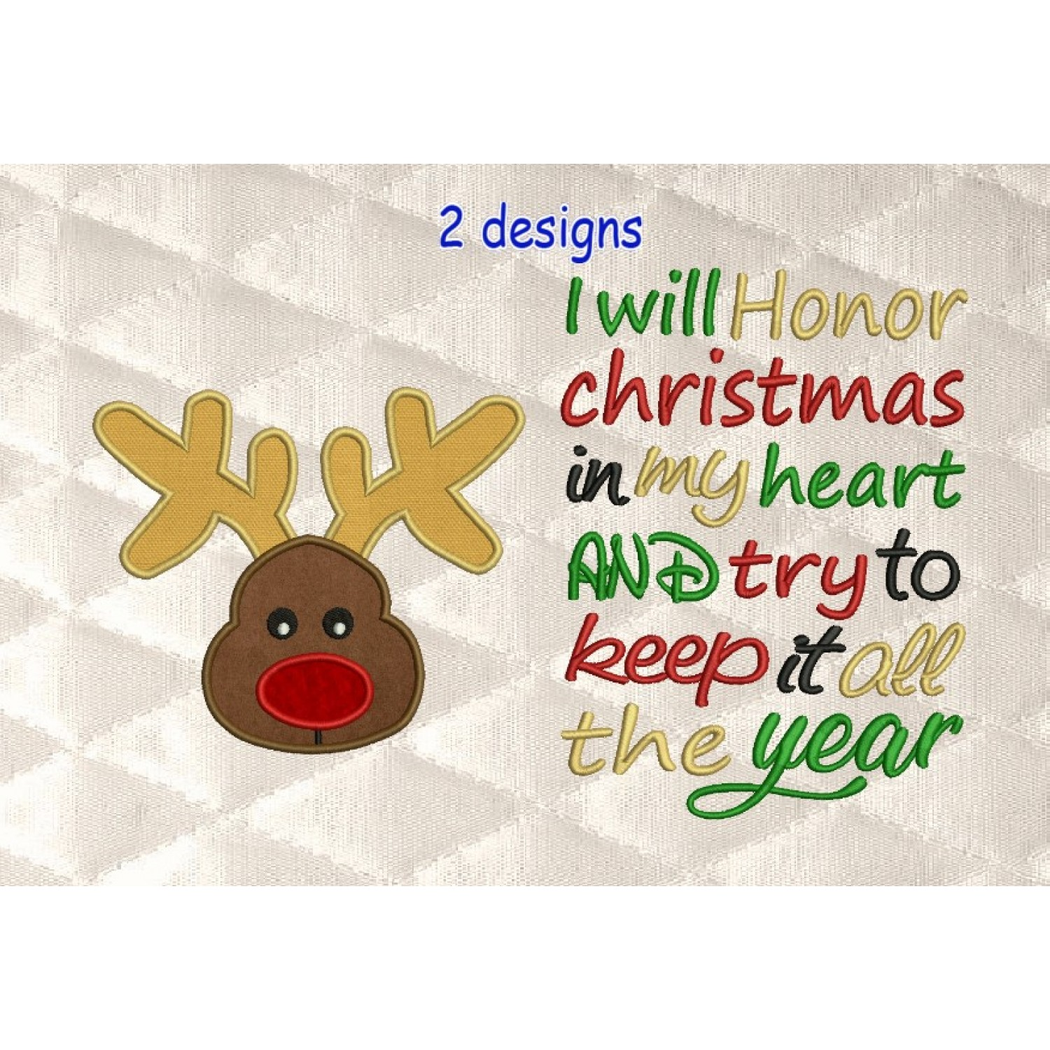 Reindeer Face applique with i will honor Christmas 2 designs 3 sizes