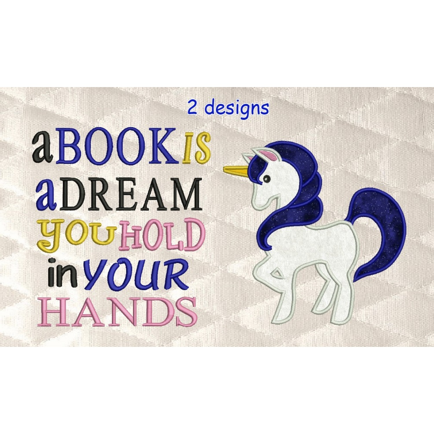 Unicorn Applique with a book is a dream 2 designs 3 sizes
