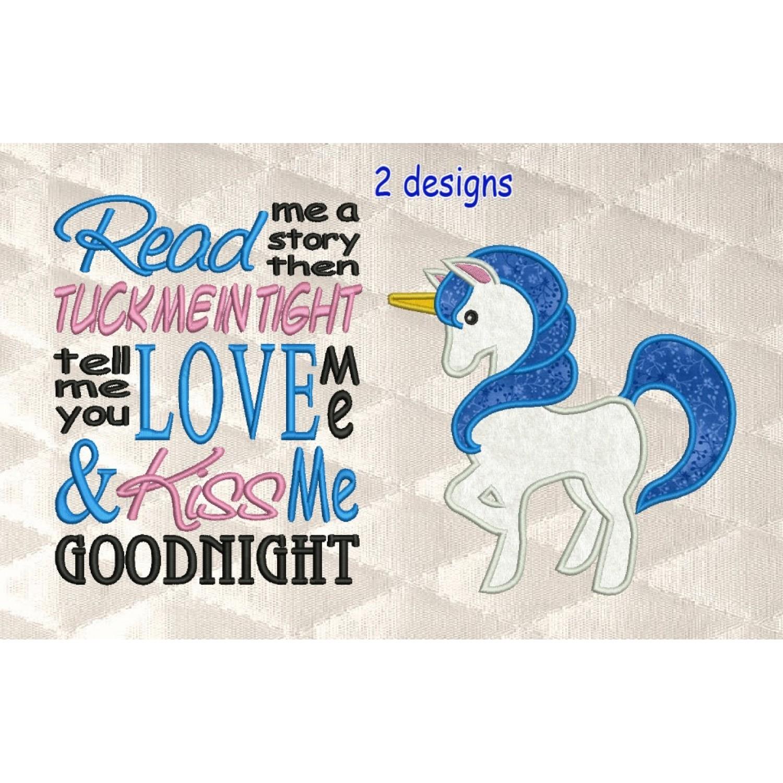 unicorn applique with read me 2 designs 3 sizes
