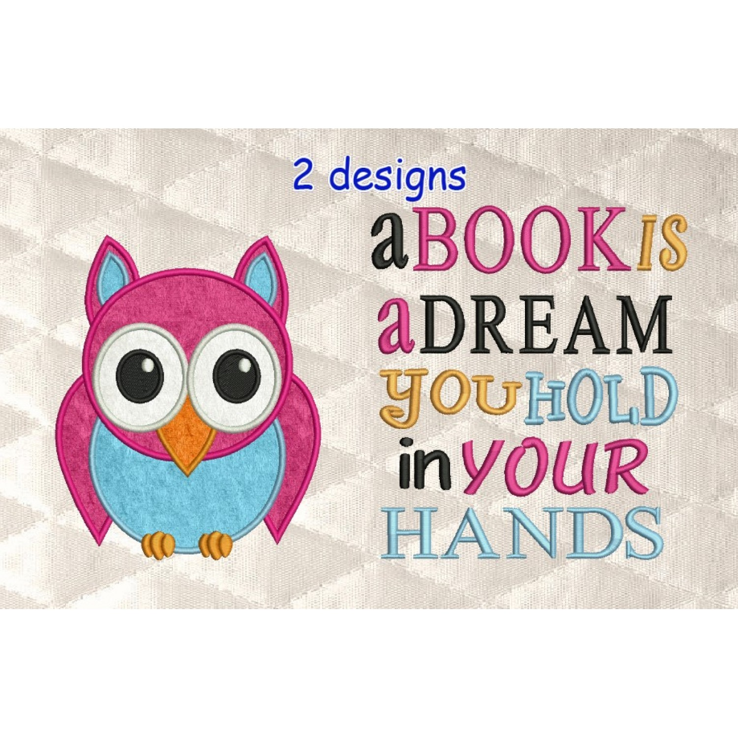 Owl applique with a book is a dream
