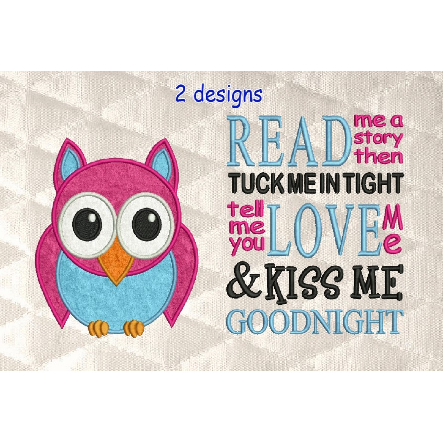 Owl applique with read me a story