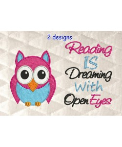 Owl applique with Reading is dreaming
