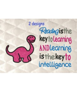 Dinosaur applique with reading is the key