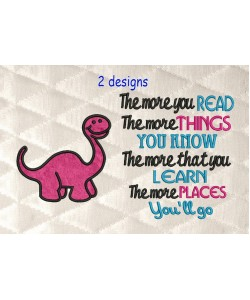 Dinosaur applique with the more you read