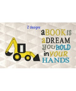 Digger applique with a book is a dream