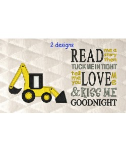 Digger applique with read me a story