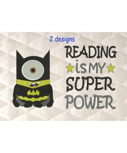 Minion batman with reading is my super power