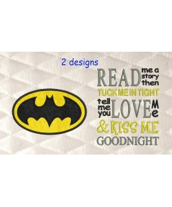 Batman logo with read me a story