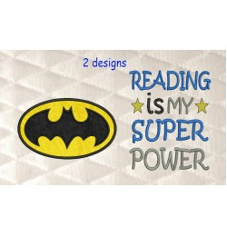 Batman logo with Reading is My Superpower